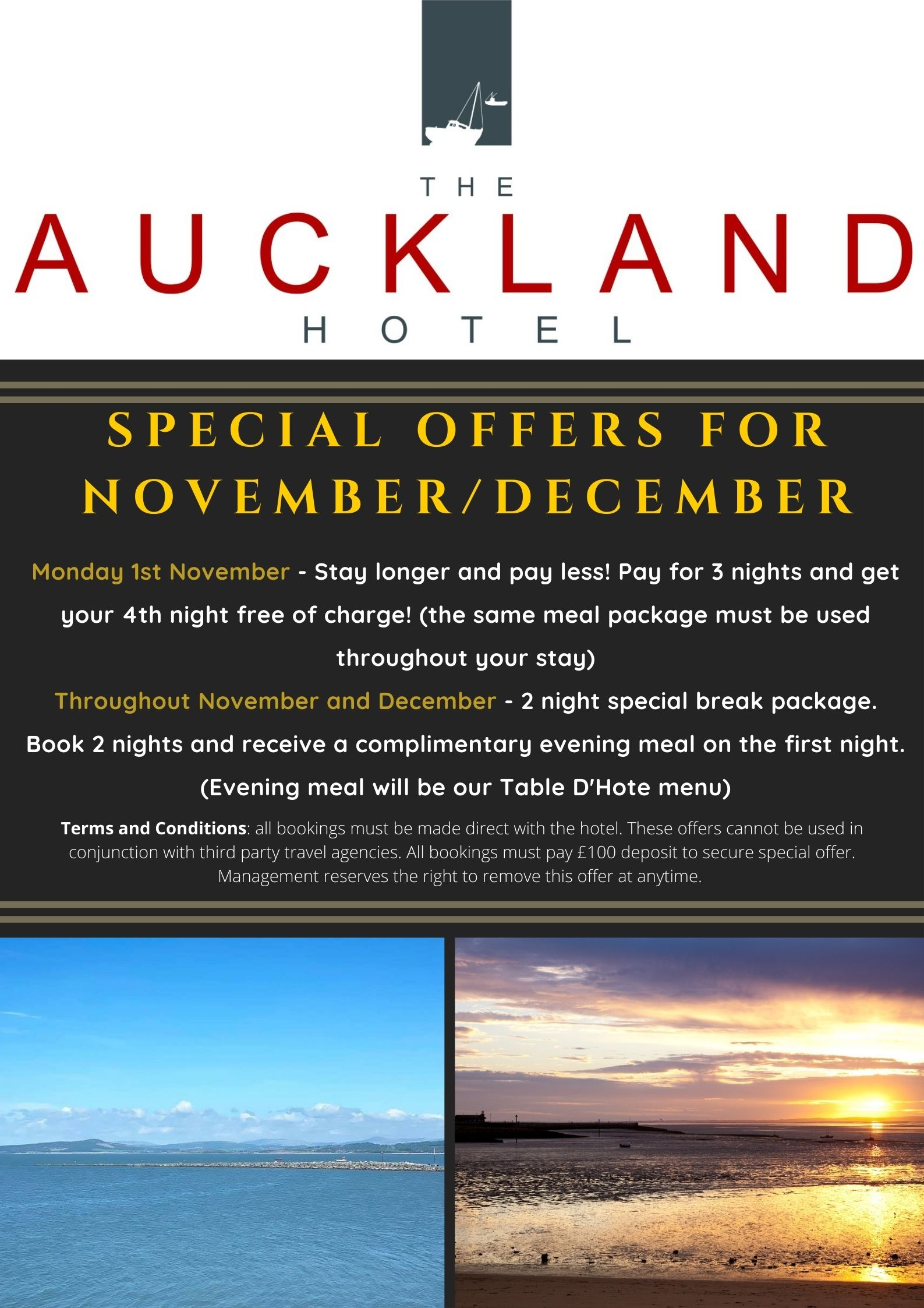 Special offers for November and December at The Auckland Hotel Morecambe